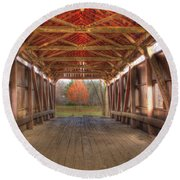 Sycamore Park Covered Bridge Round Beach Towel