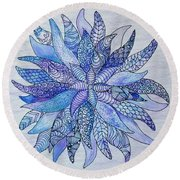 Round Beach Towel featuring the drawing Zen Flower Mandala by Megan Walsh