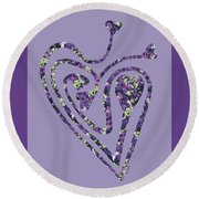 Zen Heart Labyrinth Floral Round Beach Towel