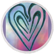 Zen Heart Labyrinth Round Beach Towel