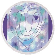 Zen Heart Labyrinth Pastel Round Beach Towel