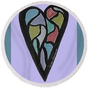 Zen Heart Map Round Beach Towel