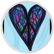 Zen Heart Peace Puzzle Round Beach Towel