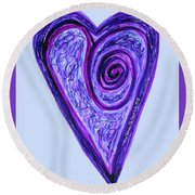 Zen Heart Pink Purple Vortex Round Beach Towel