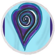 Zen Heart Vortex Wave Round Beach Towel