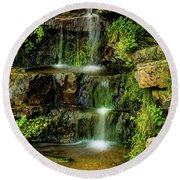 Round Beach Towel featuring the photograph Zen Pools - Provo River Falls by TL Mair