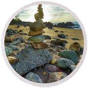 Zen Rock Balance Round Beach Towel