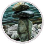 Round Beach Towel featuring the photograph Zen Rocks by Yulia Kazansky