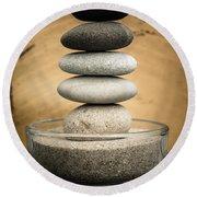 Zen Stones I Round Beach Towel by Marco Oliveira