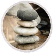 Zen Stones Iv Round Beach Towel by Marco Oliveira