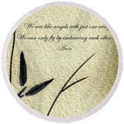 Zen Sumi 4d Antique Motivational Flower Ink On Watercolor Paper By Ricardos Round Beach Towel
