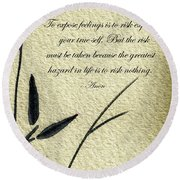 Zen Sumi 4m Antique Motivational Flower Ink On Watercolor Paper By Ricardos Round Beach Towel