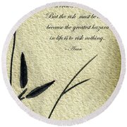 Zen Sumi 4n Antique Motivational Flower Ink On Watercolor Paper By Ricardos Round Beach Towel