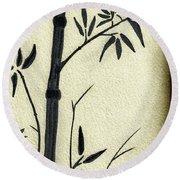 Zen Sumi Antique Bamboo 1a Black Ink On Fine Art Watercolor Paper By Ricardos Round Beach Towel