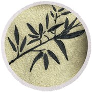 Zen Sumi Antique Botanical 4a Ink On Fine Art Watercolor Paper By Ricardos Round Beach Towel