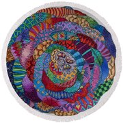 Round Beach Towel featuring the drawing Zendala 2 by Megan Walsh