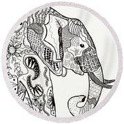 Zentangle Elephant Round Beach Towel