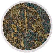 Zentangle Elephant-oil Gold Round Beach Towel