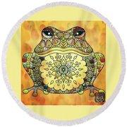 Zentangle Frog Round Beach Towel