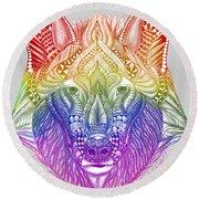 Zentangle Inspired Art- Rainbow Wolf Round Beach Towel