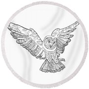 Zentangle Owl In Flight Round Beach Towel by Cindy Elsharouni