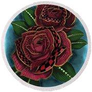 Zentangle Tattoo Rose Colored Round Beach Towel