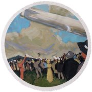 Round Beach Towel featuring the painting Zeppelin by Nop Briex