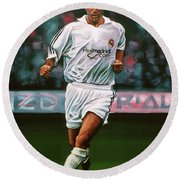 Zidane At Real Madrid Painting Round Beach Towel