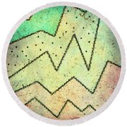Zig Zag Two Abstract Art Round Beach Towel by Ann Powell