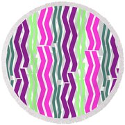 Zig Zig Stripes Round Beach Towel by Louisa Knight