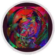 Round Beach Towel featuring the painting Ziggy  by Kevin Caudill