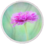 Painted Pink Zinnia Round Beach Towel