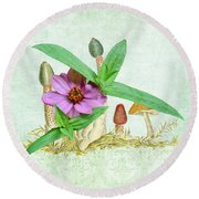 Zinnia In The Mushrooms Round Beach Towel by Larry Bishop