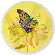 Round Beach Towel featuring the photograph Zinnia Sup by Larry Bishop