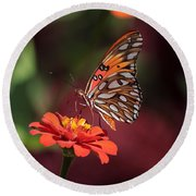 Zinnia With Butterfly 2668 Round Beach Towel