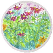 Round Beach Towel featuring the painting Zinnias  by Cathie Richardson
