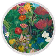 Zinnias Garden Round Beach Towel