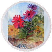Zinnias In The Garden Round Beach Towel