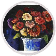Round Beach Towel featuring the painting Zinnias by Marlene Book