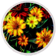Zinnias With Zest Round Beach Towel