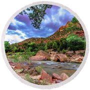 Zion At Daybreak Round Beach Towel