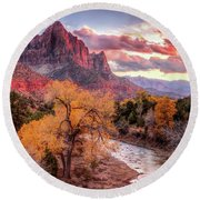 Zion Autumn Sunset Round Beach Towel