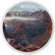 Zion Canyon Grandeur Round Beach Towel