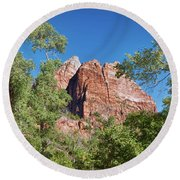 Round Beach Towel featuring the photograph Zion Contrasts by John M Bailey