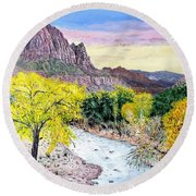 Round Beach Towel featuring the painting Zion Creek by Kevin Daly