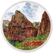 Zion N P # 41 - Court Of The Patriarchs Round Beach Towel