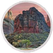 Zion National Park Sunset Round Beach Towel by Walter Colvin
