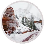 Zion Road In Winter Round Beach Towel by Daniel Woodrum