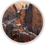 Zion Staircase  Round Beach Towel by Dustin LeFevre