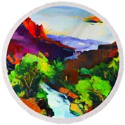 Round Beach Towel featuring the painting Zion - The Watchman And The Virgin River by Elise Palmigiani